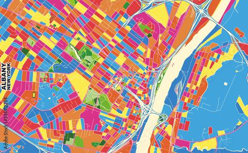 Obraz na plátně Albany, New York, USA, colorful vector map