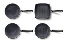 3d Empty Frying Pan Set Top View, Isolated On White. Realistic Grill And Wok Black Pan Template. Vector Illustration