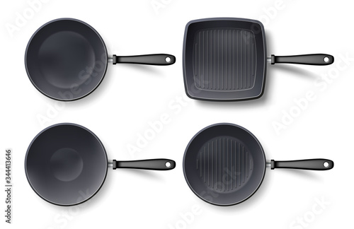 Foto 3d empty frying pan set top view, isolated on white