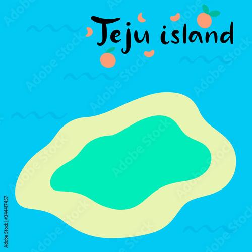 Photo Jeju Korean island vector illustration