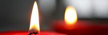 Close-up Of Burning Candle Wic...