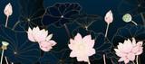 Golden lotus line arts on dark background, Luxury gold wallpaper design for prints, banner, fabric, poster, cover, digital arts vector illustration. - 344425872