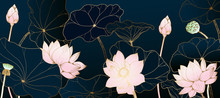 Golden Lotus Line Arts On Dark...