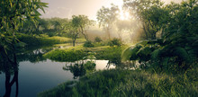 Fresh Green Paradise Scenery - Amazonian Tropical Rainforest Environment With Calm River In Beautiful Sunset Light. 3d Rendering.