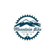 MTB Bike Logo With Mountain An...