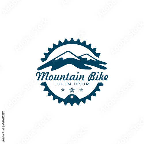 Obraz na płótnie MTB bike logo with mountain and gear or chain ring vector