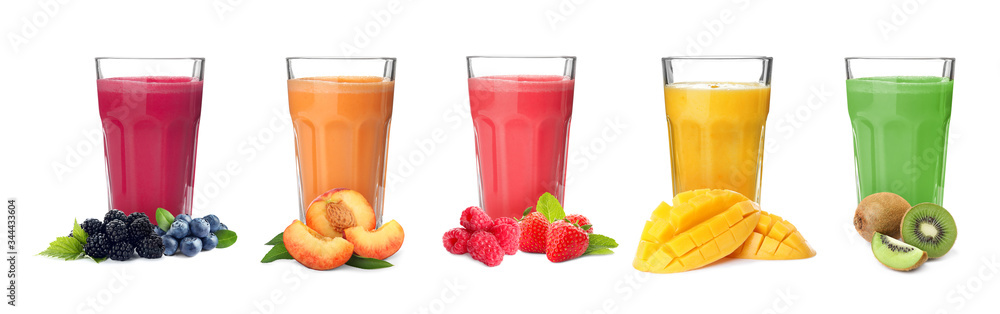 Fototapeta Different delicious smoothies in glasses on white background. Banner design