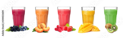 Obraz na plátně Different delicious smoothies in glasses on white background