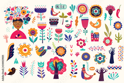 Mexican collection of plants, flowers, red pepper and birds Wallpaper Mural