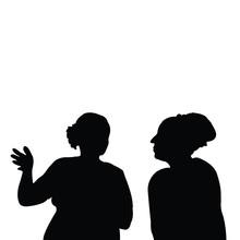 Women Talking Heads Silhouette...