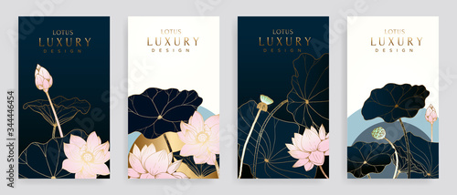 Fototapeta Luxury cover design template. Lotus line arts hand draw gold lotus flower and leaves. Design for packaging design, social media post, cover, banner, creative post, Gold geometric pattern design vector obraz