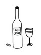 Wine bottle opened with cork and glass. Hand drawn vector isolated. Outline style EPS10.