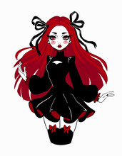 Beautiful Gothic Doll In Cartoon Style