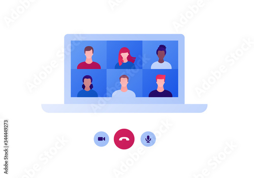Video teleconference and remote online meeting concept Canvas-taulu
