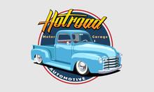 American Vintage Car Sticker Hot Road Vector Illustration