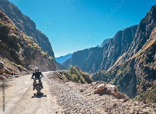 Fototapeta Bike Tour to the Valleys of Mountains