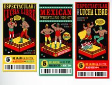 Set Of Vintage Lucha Libre Tic...