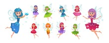 Set Of Cute Fairies With Bright Colourful Hair Vector Illustration. Flying Creatures With Beautiful Wings And Sparkles. Elf Princesses In Flat Style On White Background. Magic Concept