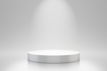 White Studio Template And Round Shape Pedestal On Simple Background With Spotlight Product Shelf. Blank Studio Podium For Advertising. 3D Rendering.