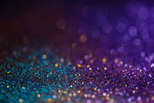 Decoration Bokeh Lights Background, Abstract Sparkle Backdrop With Circles,modern Design Overlay With Sparkling Glimmers. Blue, Purple And Golden Backdrop Glittering Sparks With Blur Effect