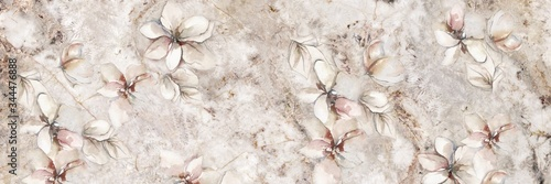 Fotografia marble stone with flowers background