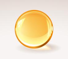 Golden Trasparent Resine Ball - Realistic Medical Pill Or Honey Drop Or Glass Sphere