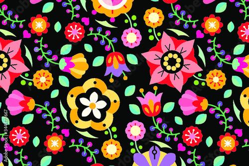 Flowers folk art patterned on black background vector Canvas
