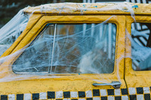 Old Retro Yellow Taxi Decorate...