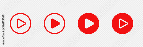 Red play buttons on transparent background Fototapeta