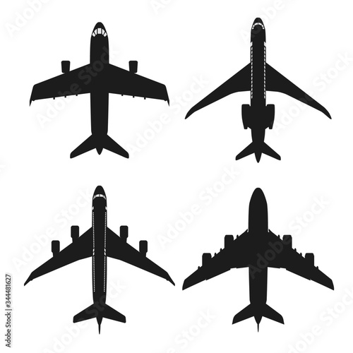 Photo Silhouette isolated top view aircraft set
