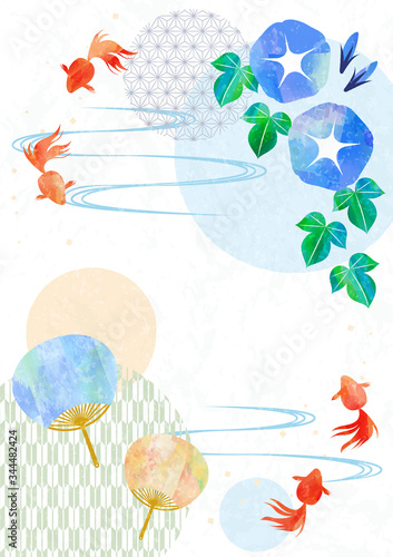 Japanese stlye frame with goldfish, fan and morning glory Canvas Print