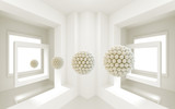 3d mural interior room wallpaper . windows and 3d ball sphere . modern background