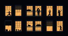 Neighbors In Apartments Window...