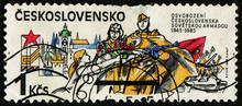 CZECHOSLOVAKIA - CIRCA 1985: Stamp 1 Czechoslovakian Koruna Printed By Czechoslovak Socialist Republic, Shows May Uprising, 1945, Circa 1985