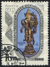USSR - CIRCA 1969: Stamp 16 Soviet Kopek Printed By USSR, Shows Statuette Of God Bodisatva (Bodhisattva) (Tibet, 7th C.), State Museum Of Oriental Art In Moscow Series, Circa 1969