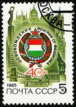 USSR - CIRCA 1985: Stamp 5 Soviet Kopek Printed By USSR, Shows 40th Anniversary Of Hungary's Liberation, Circa 1985