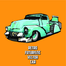 American 50s Customized Retro Car. Vector EPS10 Isolated, Separated Layers, Quick Repaint