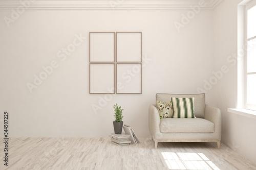 Fototapeta White living room with armchair. Scandinavian interior design. 3D illustration obraz na płótnie