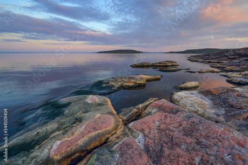 Calm on the lake at dawn, lake Ladoga, Karelia, Russia Slika na platnu
