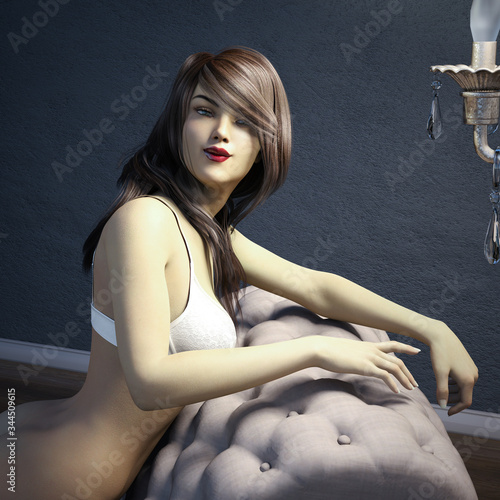 Fotografie, Tablou Illustration of a pretty woman on a settee
