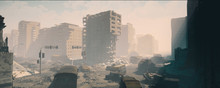 Wasteland City And Apocalypse Aftermath, Ruins Of City. 3d Render, 3d Illustration