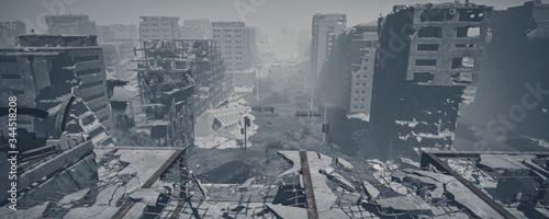 Fotomural wasteland city and apocalypse aftermath, ruins of city