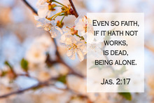Bible Quotes On Blurred Blooming Nature Background. Card For Believers. Inspirational Verse Praying Thought. Christian Wallpapers. Even So Faith, If It Hath Not Works, Is Dead, Being Alone. Jas. 2:17
