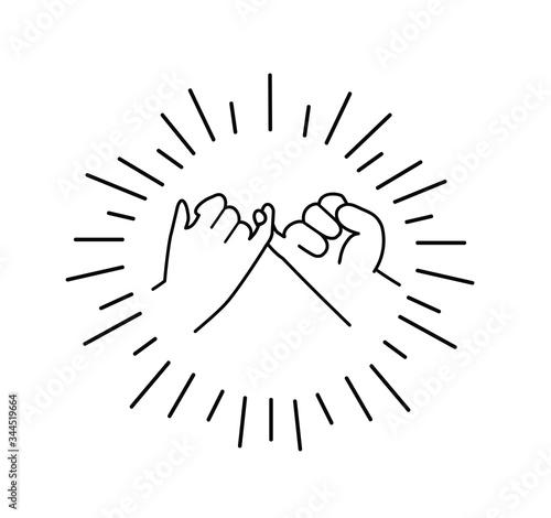 Valokuva Pinky swear promise flat design line icon vector