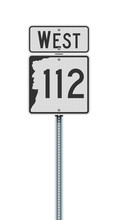 Vector Illustration Of The New Hampshire State Highway 112 And West Road Signs On Metallic Post