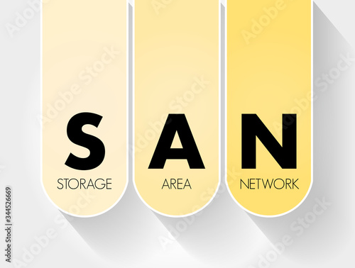 Photo SAN - Storage Area Network acronym, technology concept background