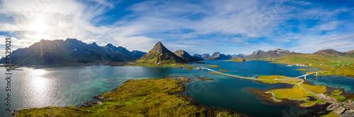 Fotografia Fredvang Bridges Panorama Lofoten islands