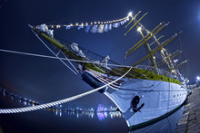 Sailing Ship Tied To A Pier, S...