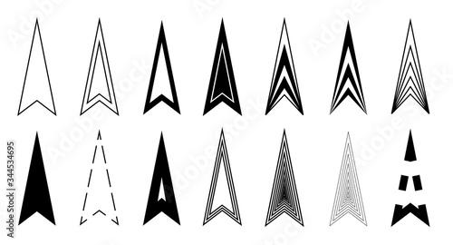 Arrows long icons black triangle arrowhead for web, app Canvas Print