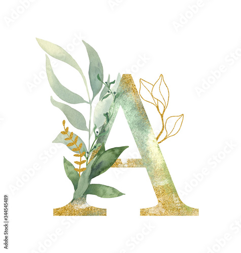 Fototapeta Floral alphabet, letter A with watercolor green and gold  leaf. Perfectly for wedding invitations, greeting card, logo, poster and other design.  obraz na płótnie